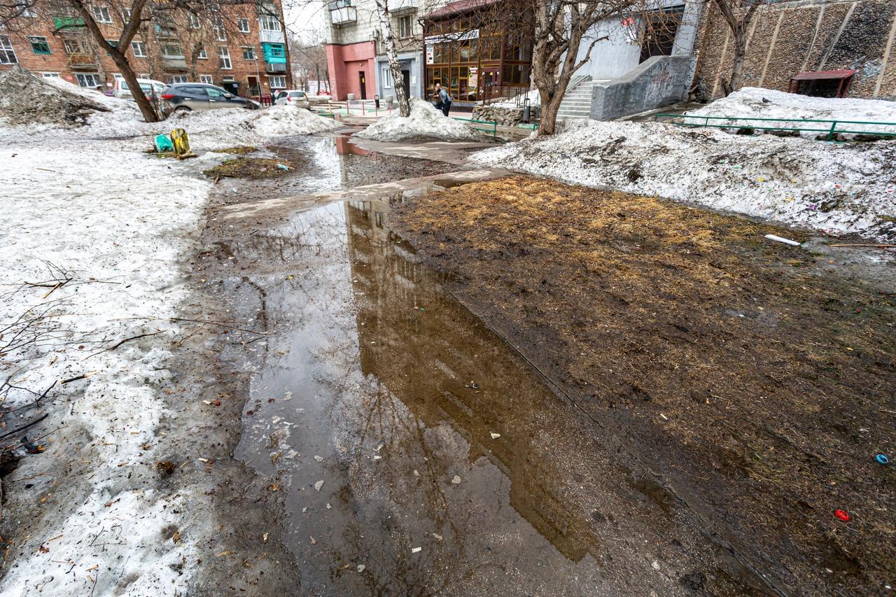 Фото Утекай: долгожданная весна превратила Новосибирск в город огромных луж 9