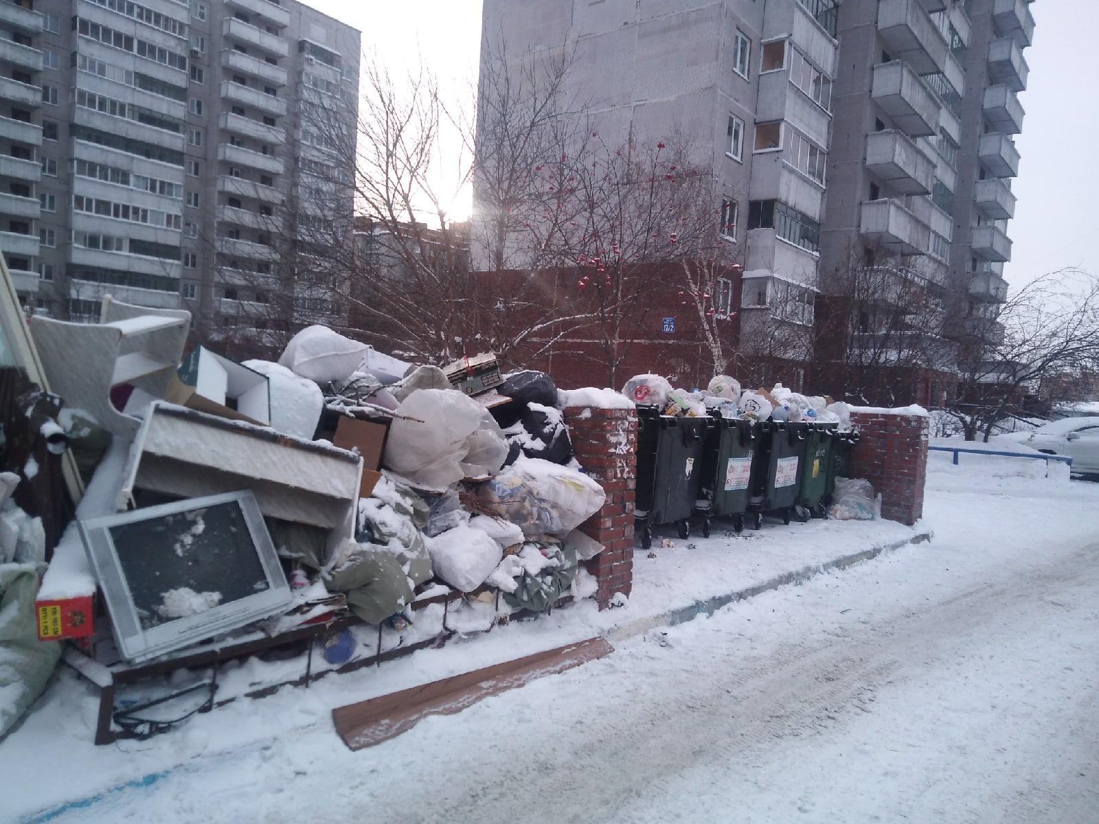 Предновогодний мусорный коллапс возник во дворах Новосибирска: жители взмолились срочно вывезти переполненные баки