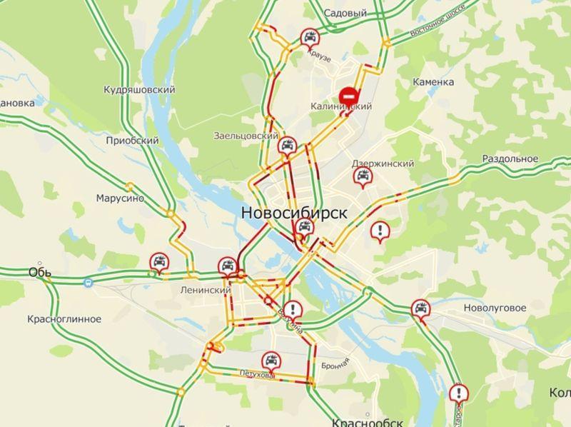 фото Десятки аварий привели к транспортному коллапсу в Новосибирске 2