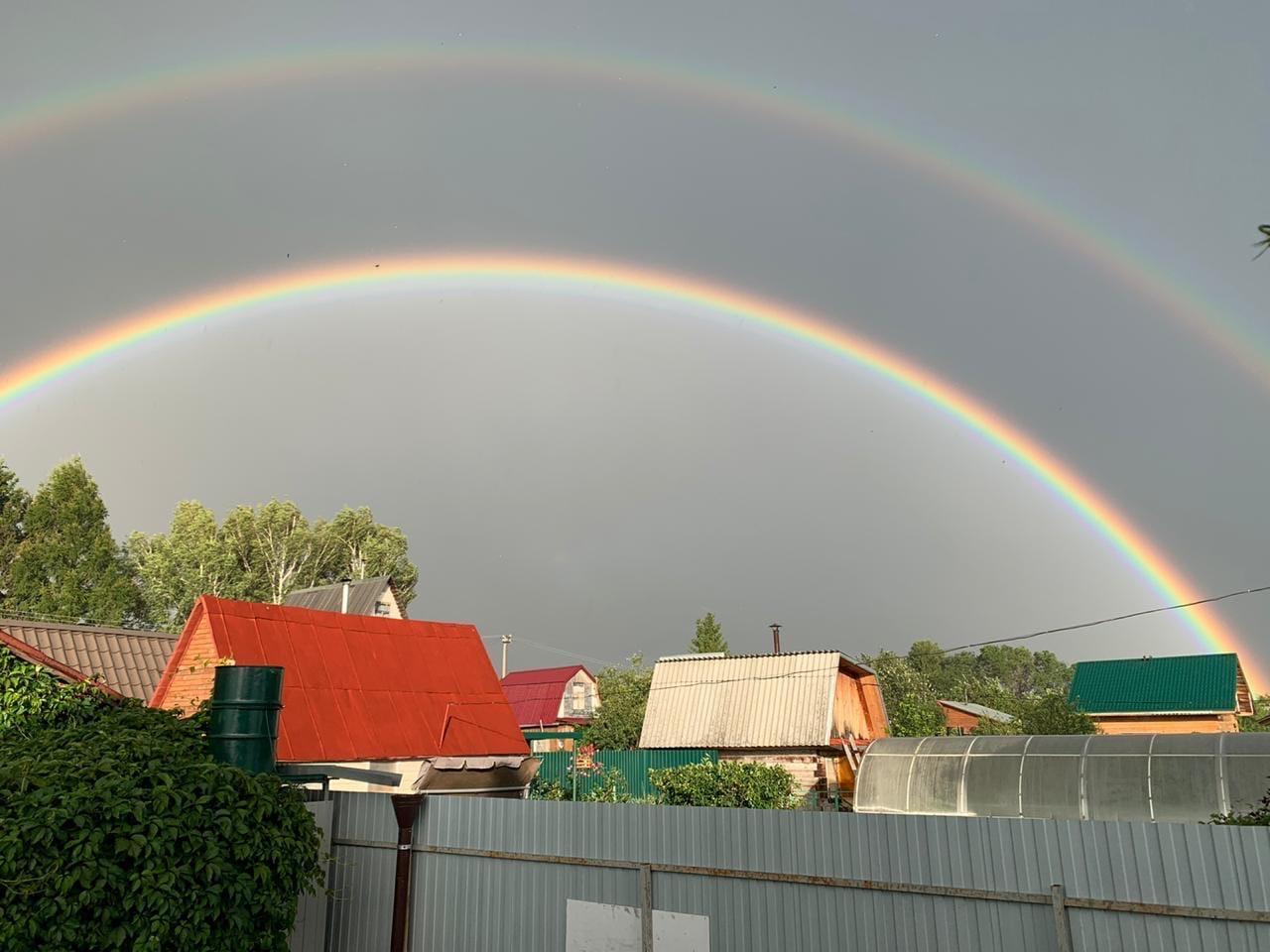 фото В Новосибирске увидели двойную радугу 2