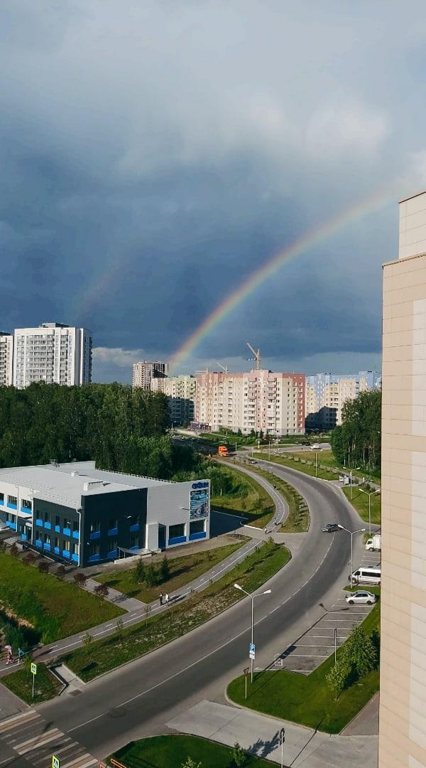 фото В Новосибирске увидели двойную радугу 3