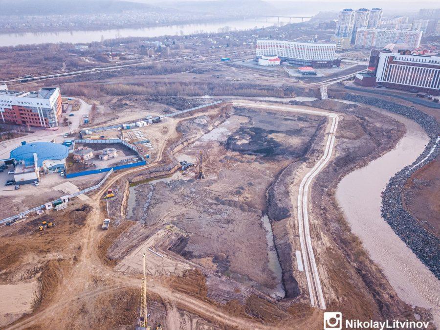 фото В Кемерове показали строительство новой набережной с высоты птичьего полёта 2