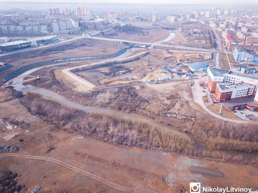 фото В Кемерове показали строительство новой набережной с высоты птичьего полёта 6