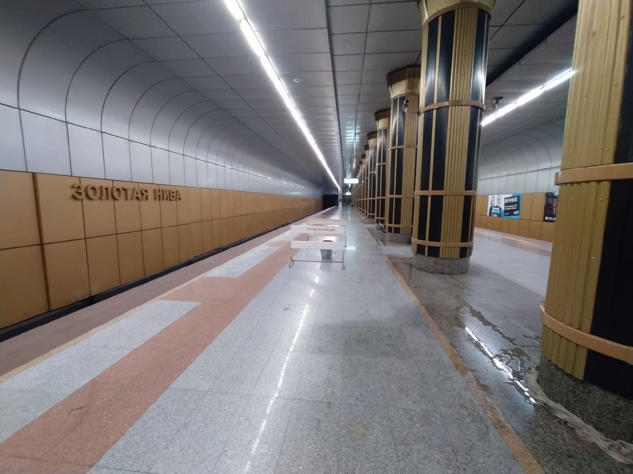 Фото На станции метро «Золотая Нива» в Новосибирске третий день не могут устранить течь с потолка 3