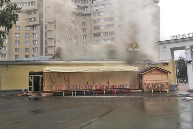 Фото Центральный парк задымился в Новосибирске 3
